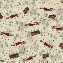 2330-001 Winter Village - Santa - Cream Fabric