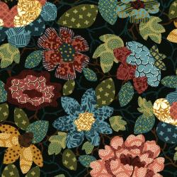 2835-002 Garden Collage - Large Floral Mix - Black Fabric