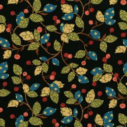 2836-002 Garden Collage - Berry Twig - Black Fabric