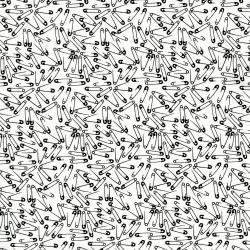 2909-002 Odds & Ends - Saftey Pins - Black On White Fabric