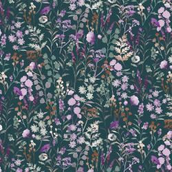 PS102-BA2M Lilac & Sage - Wildflowers - Basil Copper Pearl Metallic Fabric