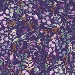 PS102-PU1M Lilac & Sage - Wildflowers - Purple Copper Pearl Metallic Fabric