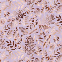 PS103-LI1M Lilac & Sage - Leaves - Lilac Copper Pearl Metallic Fabric