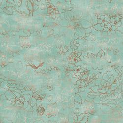 PS104-GR2M Lilac & Sage - Toile - Green Copper Pearl Metallic Fabric