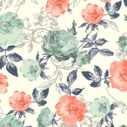 PS201-PA2M Summer Rose - Marietta - Papaya Metallic Fabric