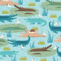 RJ1300-TE3 Adventure - Gators - Teal Fabric