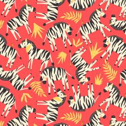 RJ1301-CO2 Adventure - Finding Zebras - Coral Fabric