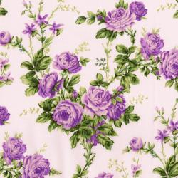 3144-001 Afternoon In The Attic - Cottage Rose - Lavender Fabric