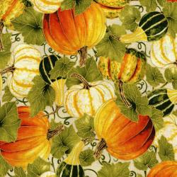 3190-002 Autumn Air - Harvest - Natural Metallic Fabric