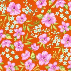3411-002 Beach Bash - Hibiscus Hula - Orange Fabric