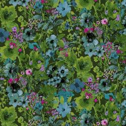 RJ1203-FO2 Bloom Bloom Butterfly - Moonlit Blooms - Forest Fabric