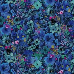 RJ1203-MI3 Bloom Bloom Butterfly - Moonlit Blooms - Midnight Fabric