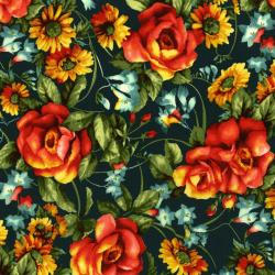 3079-001 Bordeaux Rose - Jardin Du Soir - Dark Teal Fabric