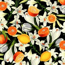 RJ1400-BK2 Citrus Garden - Lilies with Citrus - Black Fabric