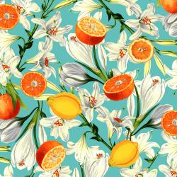 RJ1400-CY3 Citrus Garden - Lilies with Citrus - Cyan Fabric