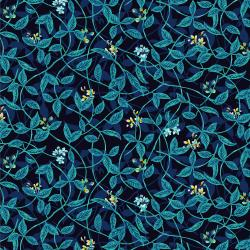 RJ1404-BL1 Citrus Garden - Leaves - Blue Fabric