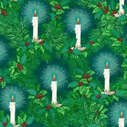 RJ601-BL2M Evergreen - Christmas Eve - Blue Spruce Metallic Fabric