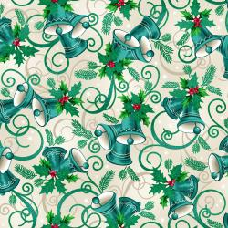RJ603-VA2M Evergreen - Jingle - Vanilla Metallic Fabric