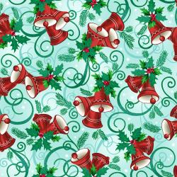 RJ603-WI1M Evergreen - Jingle - Winter Sky Metallic Fabric