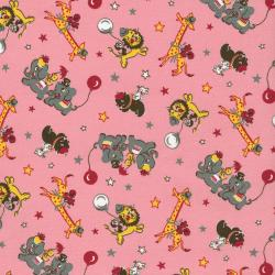 2509-002 Everything But The Kitchen Sink XI - Zoo Animals - Pink Fabric