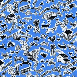 2966-002 Everything But The Kitchen Sink XII - Barn Yard - Pond Fabric
