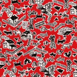 2966-004 Everything But The Kitchen Sink XII - Barn Yard - Cherry Fabric