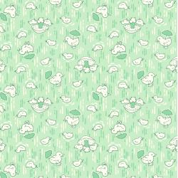 3593-003 Everything But The Kitchen Sink XIV - Cute Chicks - Mint Fabric