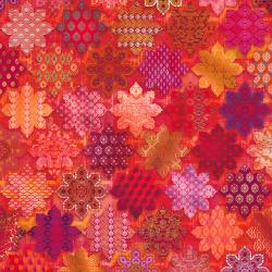 RJ1102-RU2D Flourish - Tiles - Ruby Digiprint Fabric