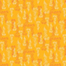 RJ2002-OR3 Flower Doodles - Delicate Floral - Orange Fabric