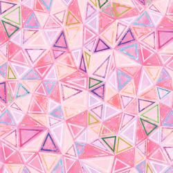 RJ1505-PI2D Geometry - Triangles - Pink Digiprint Fabric