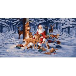 2725-001 Good Tidings - Panel - Woodland Santa Fabric