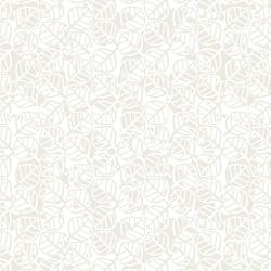 RJ1421-IW3 Gray Matter - Optical Leaves - Ivory on White Fabric
