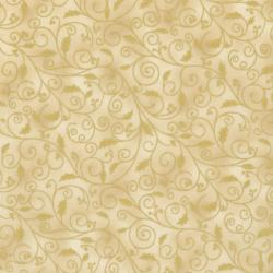 0781-001 Holiday Accents Classics - Holiday Holly Swirl - Cream Fabric