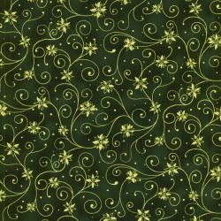 0782-004 Holiday Accents Classics - Pointsetta - Green Fabric