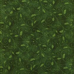 0784-004 Holiday Accents Classics - Holly Swirl - Green Fabric