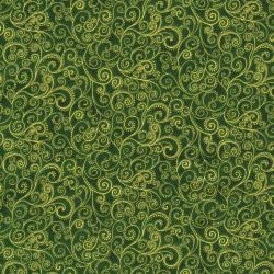 1991-006 Holiday Accents Classics - Holiday Swirl - Green Metallic Fabric