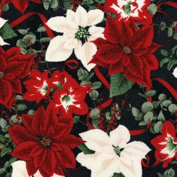 3483-003 Let It Sparkle - Holiday Bouquet Radiant - Radiant Black Metallic Fabric