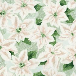 3485-001 Let It Sparkle - Pearly Poinsettia - Silver Sage Fabric