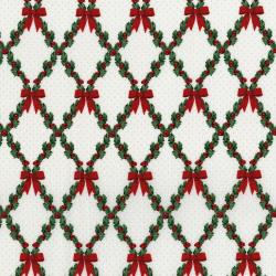 3490-003 Let It Sparkle - Bows And Holly - Radiant Winter White Metallic Fabric