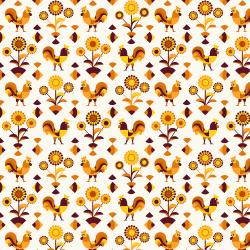 RJ1901-OR2 Lil' Bit Country - Rockin' Rooster - Orange Fabric