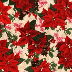 3151-002 Merry, Berry, & Bright - Holiday Sparkle - Radiant Vanilla Metallic Fabric