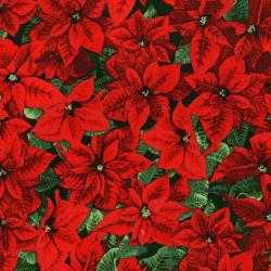 3152-001 Merry, Berry, & Bright - Glimmering Poinsettia - Radiant Pine Metallic Fabric