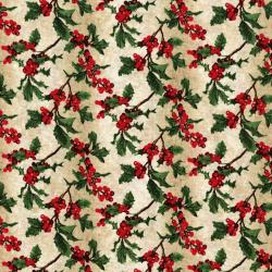 3156-003 Merry, Berry, & Bright - Boughs Of Holly - Radiant Vanilla Metallic Fabric