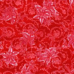 3157-001 Merry, Berry, & Bright - Christmas Blooms - Radiant Cherry Metallic Fabric