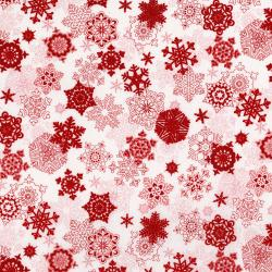 3160-001 Merry, Berry, & Bright - Snow Glisten - Radiant Cherry Metallic Fabric