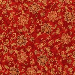 3162-003 Merry, Berry, & Bright - Deck The Halls - Scarlet Metallic Fabric