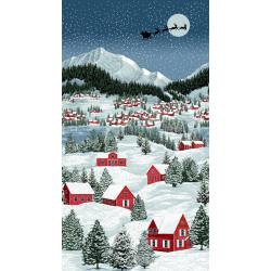3166-001 Merry, Berry, & Bright - The Night Before Christmas - December Panel Metallic Fabric