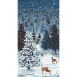 3167-001 Merry, Berry, & Bright - Frosted Forest - December Panel Metallic Fabric