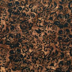 RJ1002-CH3B Nature Walk - Woodcut Floral - Chestnut Batik Fabric