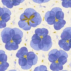 RJ2401-TB1 Pressed Floral - Pansy Paper - True Blue Fabric